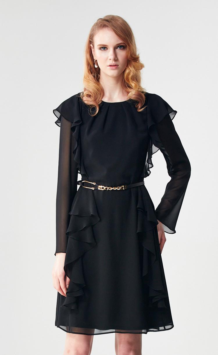 林廷芬服裝設計-Allison-雪紡拼接袖荷葉垂墜修飾身形洋裝