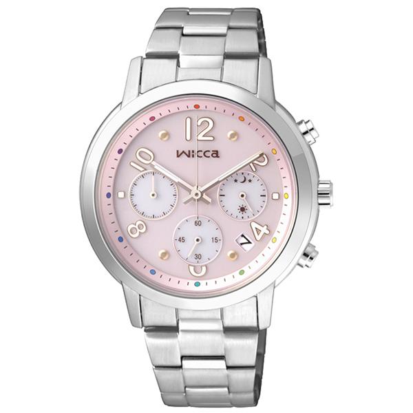 CITIZEN星辰WICCA(KF5-012-91)粉彩天堂太陽能時尚腕錶/粉紅面35mm