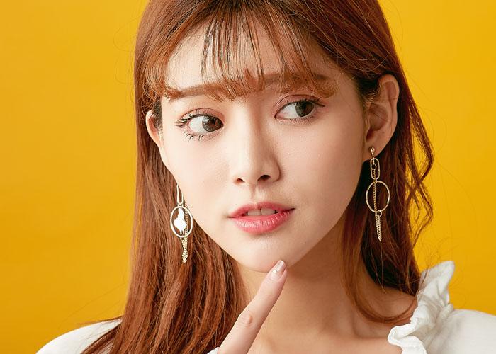 圓圈耳環,夾式耳環,無耳洞耳環,簡約個性,韓妞最愛,不對稱耳環
