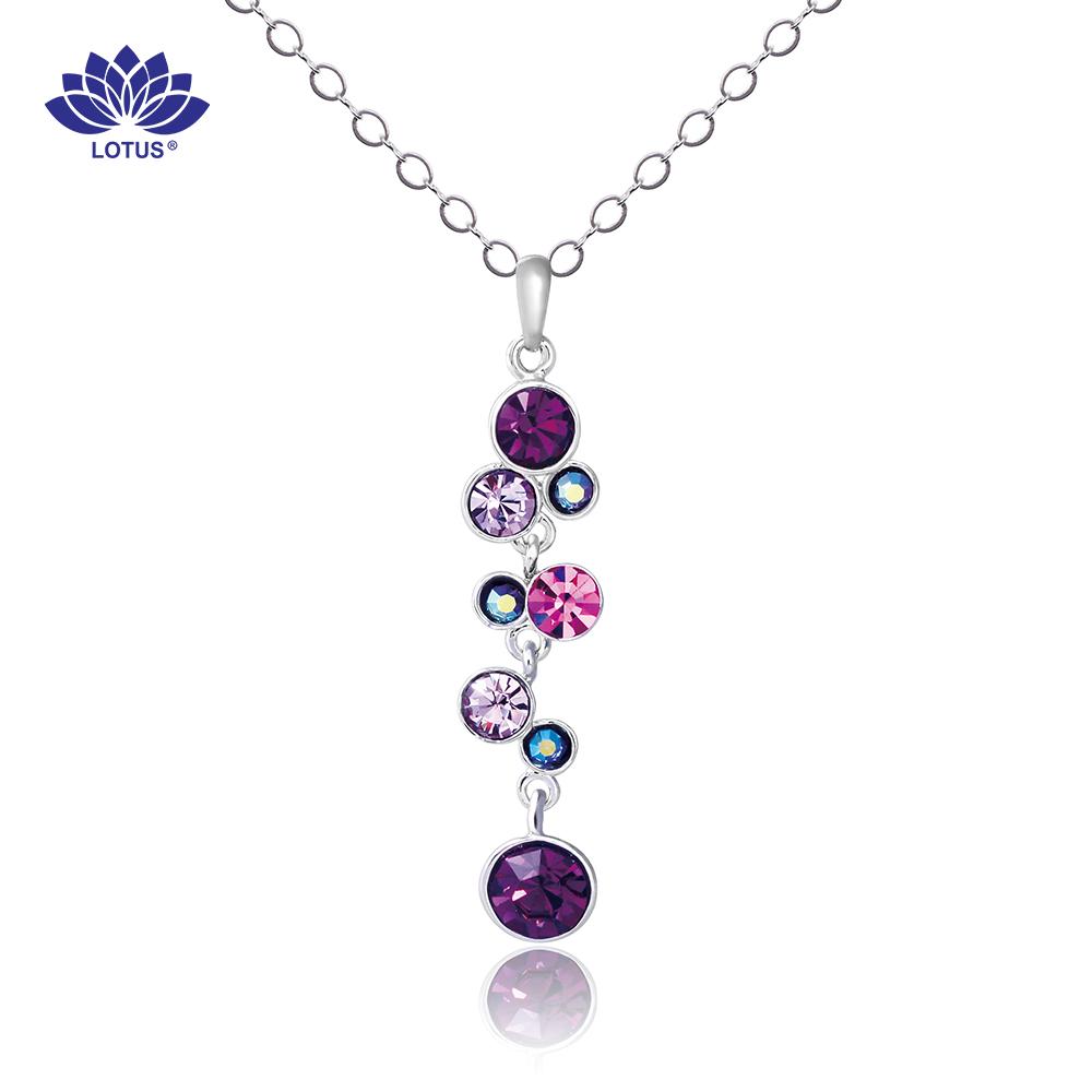 專櫃熱賣【LOTUS】 奧地利水鑽紫葡萄項鍊(25cm)