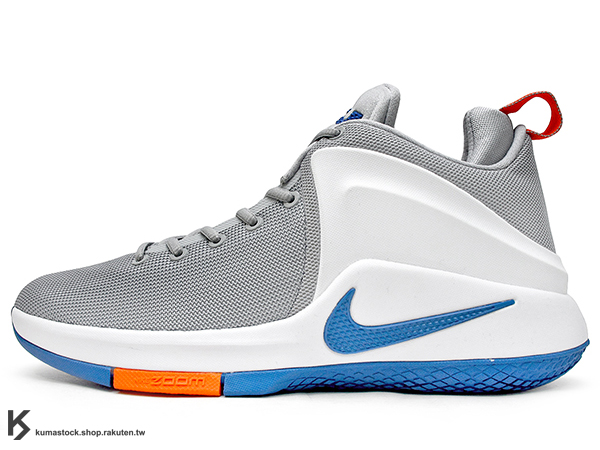 2016 NBA 小皇帝 JAMES 平價版子系列代言鞋款 NIKE LEBRON ZOOM WITNESS EP 灰白 藍橘 騎士隊 ZOOM AIR 氣墊 耐磨橡膠底 (884277-004) 1..