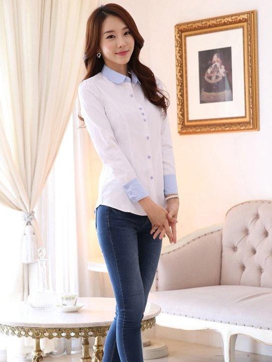 圓領OL套裝襯衫 工作制服(白藍拼接 長袖)wcps60