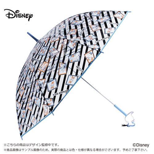 『日本代購品』淺柄藍條紋唐老鴨款 日本 迪士尼 唐老鴨鏤空造型把手 透明直傘 雨傘