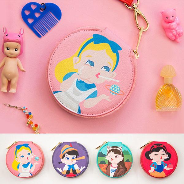 棒棒小圓包 趣味女孩零錢包 小物收納包 手拿包 白雪公主 愛麗絲 卡通可愛