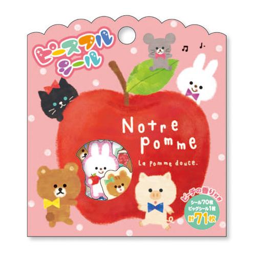 *小徑文化*日本進口 MIND WAVE 貼紙包 - 蘋果小動物們 ( 78205 )