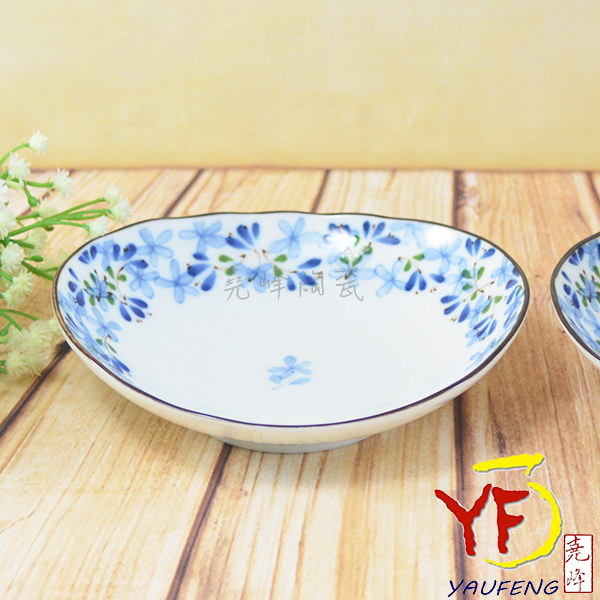 ★堯峰陶瓷★餐桌系列 日本美濃燒 5.25吋 芽 橢圓盤 餐盤 小盤子