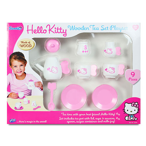 KT木製茶具組/ Hello Kitty Tea Set/ 凱蒂貓/ 梳妝台/ 伯寶行