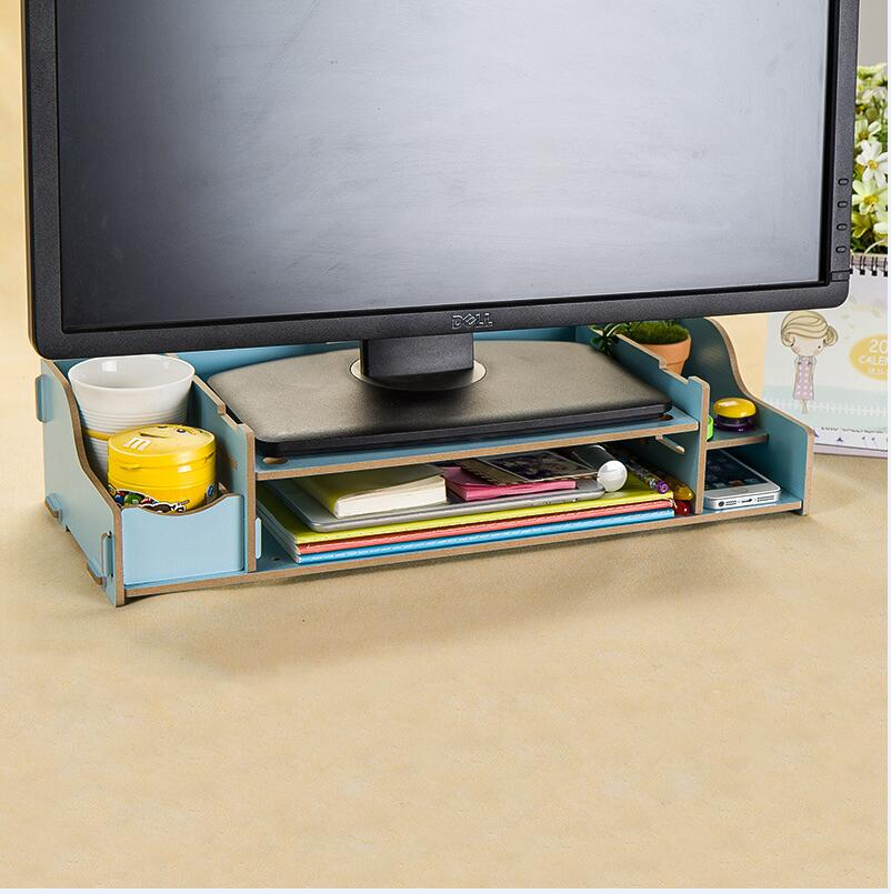 WallFree窩自在★升級可調高度加厚木質電腦螢幕收納架-藍色