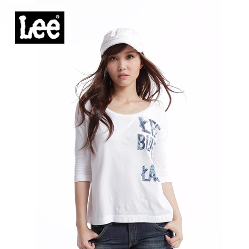 【Super Sales 上衣下殺↘1.5折】LEE 七分袖U領T恤-女款(白)