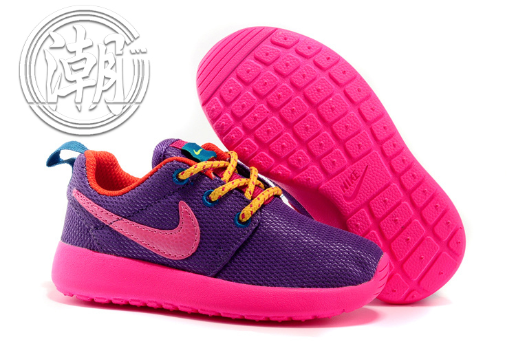 全新正品NIKE Roshe run One超輕量 童鞋 紫色粉勾 大童鞋 余文樂 學步 透氣 經典百搭【T0078】潮