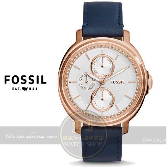 FOSSIL美國品牌Chelsey晶鑽名媛真皮腕錶-玫瑰金/藍/39mm ES3832公司貨/禮物/情人節/生日