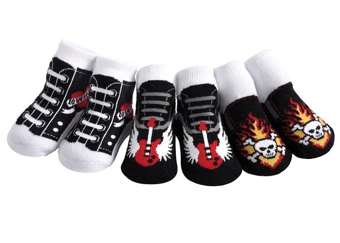 【HELLA 媽咪寶貝】美國 Jazzy Toes 時尚造型棉襪/止滑襪/假鞋襪/嬰兒襪三雙入禮盒組 搖滾Rock造型襪(JT3-08)