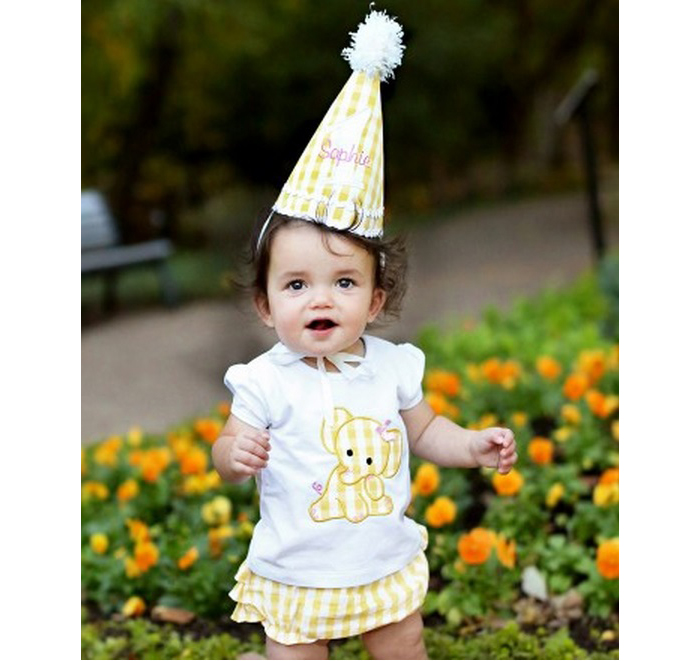 【HELLA 媽咪寶貝】美國 RuffeButts 寶寶/兒童生日帽 黃色格子 (RBBH04)