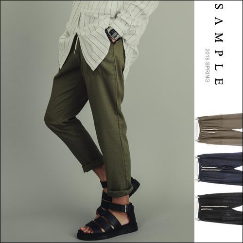 現貨 韓國製 休閒褲 素面大口袋鬆緊棉麻【PS15812】- SAMPLE