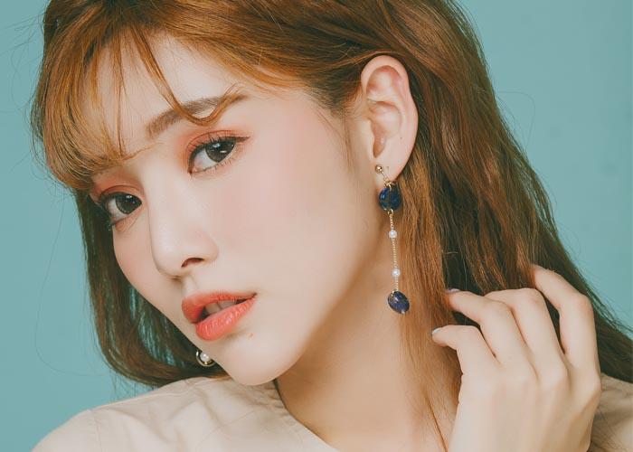 韓國飾品,圓形造型耳環,大理石紋理耳環,垂墜耳環,夾式耳環,不對稱耳環
