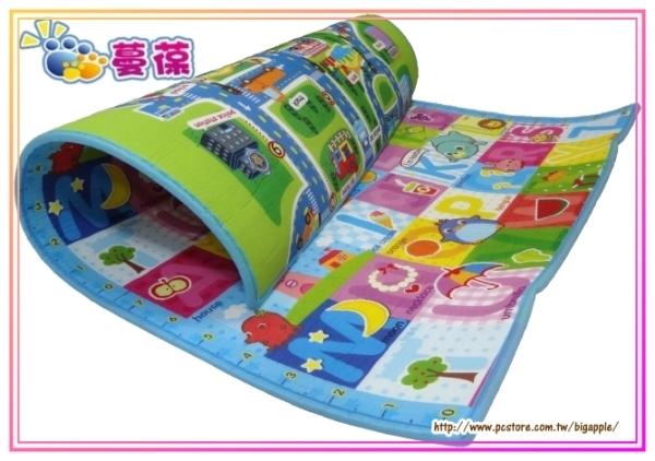 【淘氣寶寶】《蔓葆嬰兒爬行墊 》城市+歡樂字母雙面厚款 200x160x1.0cm遊戲墊/地墊/保潔墊