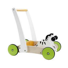 【淘氣寶寶】德國 Hape 愛傑卡 斑馬木推車/兒童玩具/學步車/木製玩具