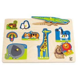【淘氣寶寶】德國 Hape 愛傑卡 野生動物木拼圖