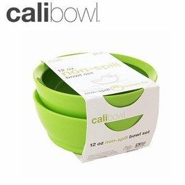 【淘氣寶寶】【美國 CaliBowl】美國CaliBowl Calibowl專利防漏幼兒學習碗(無蓋)12OZ 雙入/綠(公司貨)【贈美國製醫療級香草奶嘴*1顆(原價199元】