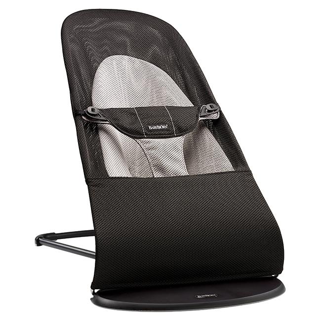 【淘氣寶寶】BabyBjorn Bouncer Balance Soft 柔軟彈彈椅-透氣/黑灰【彈彈椅自然擺動不需使用電池/符合人體工學】【正品】