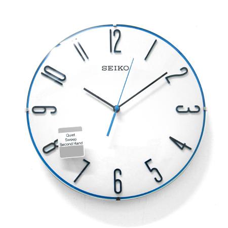 SEIKO精工掛鐘 無際海洋 球型鏡面立體數字藍色細邊滑動式秒針時鐘 柒彩年代【NG14】原廠公司貨
