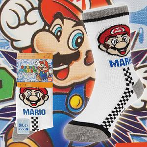 【沙克思】SUPER MARIO 瑪莉歐賽車格童短襪 特性:透氣網眼編織+舒適棉混+前後跟補強+鬆緊內附尺寸標+襪底附姓名欄 (超級瑪莉歐兄弟 襪子 童襪)