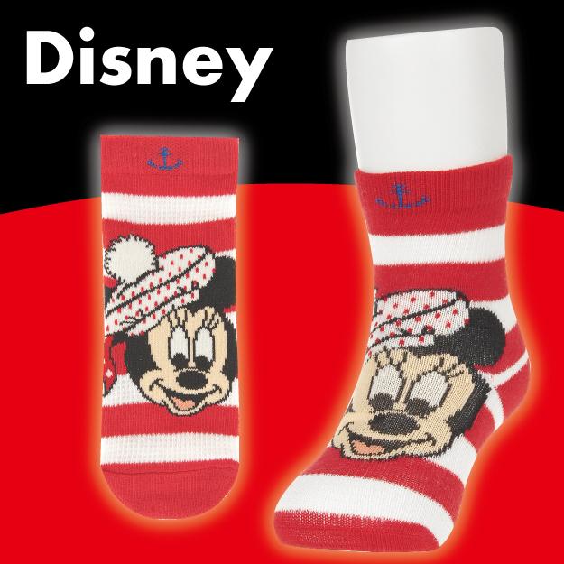 【沙克思】Disney 橫紋底米妮戴貝蕾帽止滑嬰兒短襪 特性:舒適棉混編織+透氣網眼編+鬆口設計+足底附止滑 (迪士尼 MINNIE 襪子 童襪 嬰兒襪)