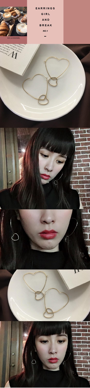 韓國飾品,心型耳環,簡約耳環,針式耳環,金色耳環