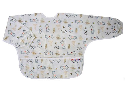 【悅兒樂婦幼用品?】Baby City 防水長袖圍兜-米色狗(1-3歲)