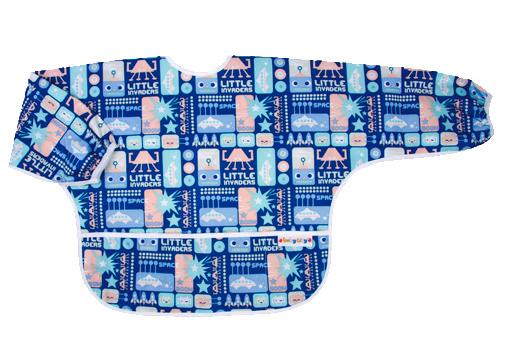 【悅兒樂婦幼用品?】Baby City 防水長袖圍兜-藍色機器人(1-3歲)