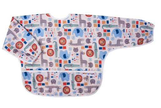 【悅兒樂婦幼用品?】Baby City 防水長袖圍兜-卡其色動物(1-3歲)