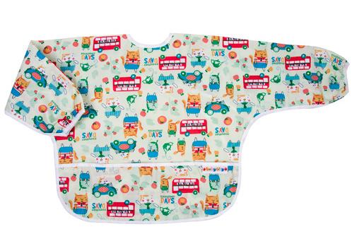 【悅兒樂婦幼用品?】Baby City 防水長袖圍兜-綠色貓公車(1-3歲)