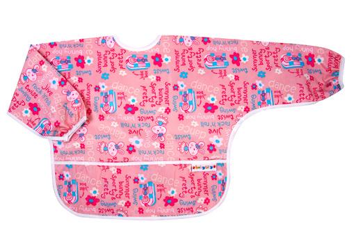 【悅兒樂婦幼用品?】Baby City 防水長袖圍兜-粉色兔子(1-3歲)