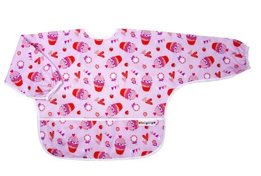 【悅兒樂婦幼用品?】Baby City 防水長袖圍兜-紅色杯子蛋糕(1-3歲)