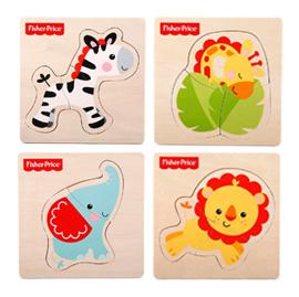 【悅兒樂婦幼用品?】Fisher-Price 費雪 木質玩具系列-可愛動物巧拼板