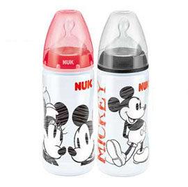 【悅兒樂婦幼用品?】NUK 米奇寬口徑PP奶瓶(300ml)-附寬口徑矽膠奶嘴2號中圓洞