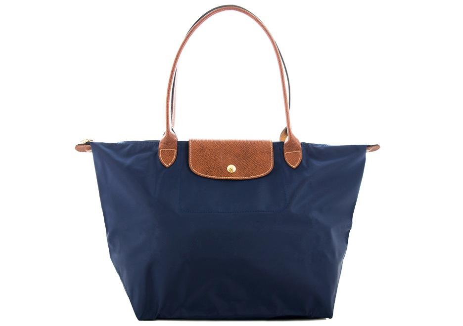 [長柄M號]國外Outlet代購正品 法國巴黎 Longchamp [1899-M號] 長柄 購物袋防水尼龍手提肩背水餃包 海軍藍