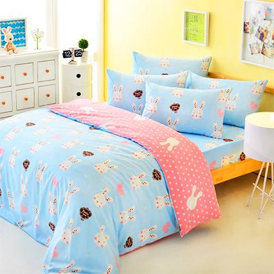 3M吸濕排汗 - Pure One 迷戀兔-藍-單人兩件式床包組