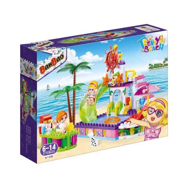 【BanBao 積木】沙灘女孩系列-水上樂園 6128 (樂高通用) (單筆訂單購買再加送積木拆解器一個)