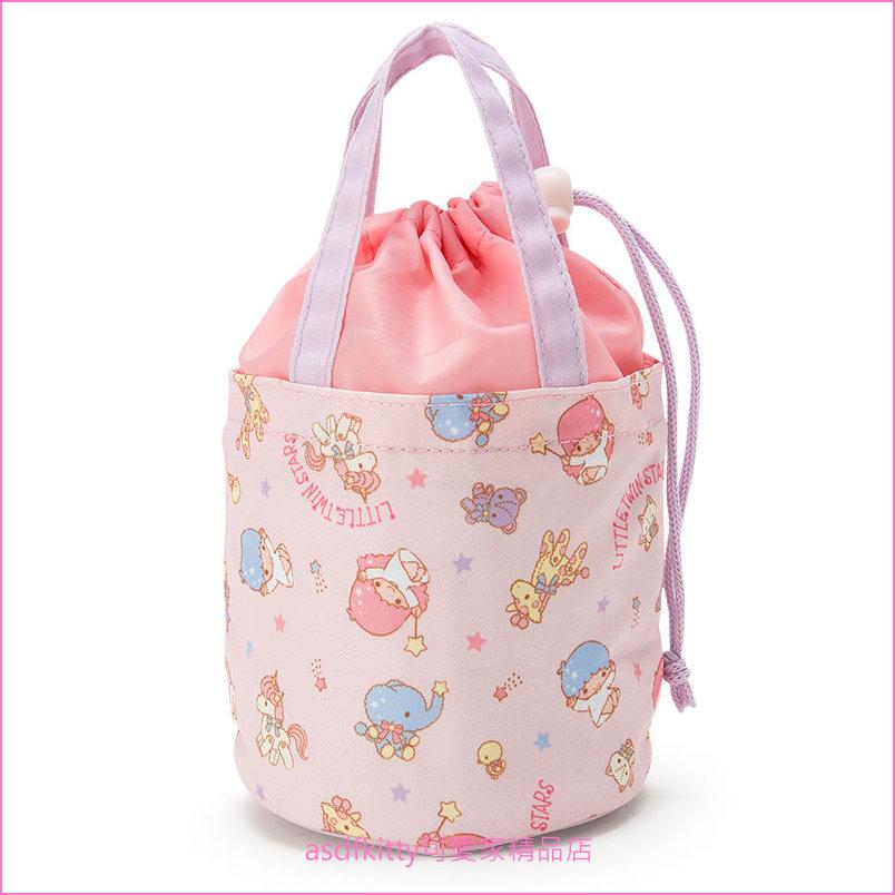 asdfkitty可愛家☆雙子星圓筒型束口保冷便當袋/收納袋/手提袋-日本正版商品