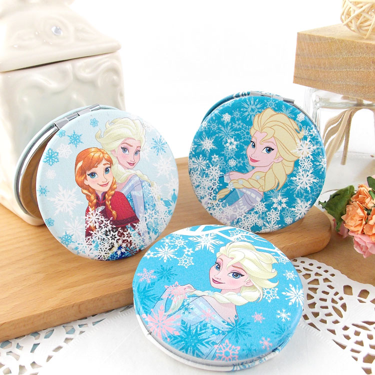 【Disney 】可愛圓形雙面折疊鏡/化妝鏡/隨身鏡-冰雪奇緣