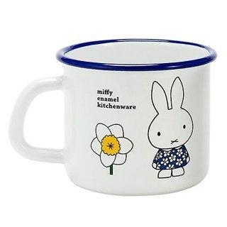 【日本富士FUJIHORO】MIFFY琺瑯杯-450ml / 兔兔花朵