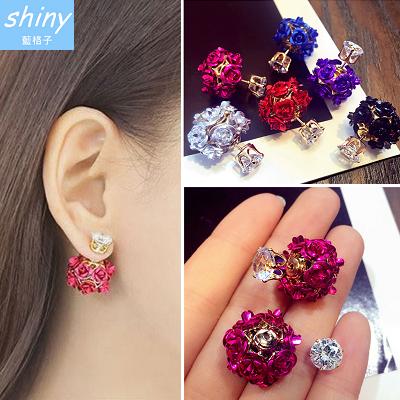 【20A16】shiny藍格子-華麗炫風 .精緻花球水晶時尚氣質耳環