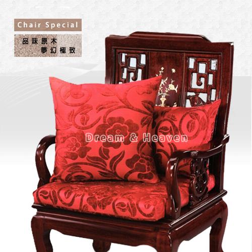 DH【夢幻天堂生活館】高雅原木傢俱專用-抱枕/靠墊/鄉村花藝(紅)抱枕