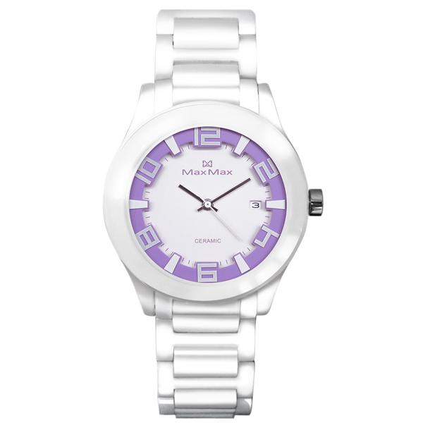Max Max MAS5117-W3新潮白紫陶瓷腕錶/紫面38mm
