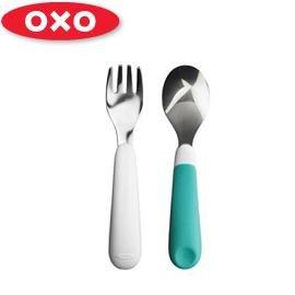 兒童學習餐具-Baby Joy World-美國OXO 嬰兒學習防滑不鏽鋼湯匙叉子組-藍色