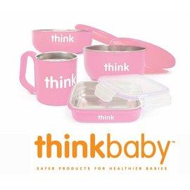 兒童餐具-Baby Joy World美國Thinkbaby BPA Free 無毒安全不銹鋼嬰幼兒童餐具組-粉色