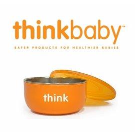 兒童餐碗-Baby Joy World-美國thinkbaby BPA Free Soup Bowl 無毒不銹鋼兒童深碗 湯碗附蓋 無塑化劑-橘色