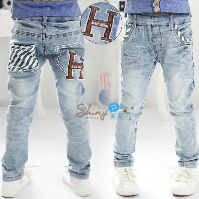【R2118】shiny藍格子-嬰幼館。男童休閒字母口袋牛仔長褲
