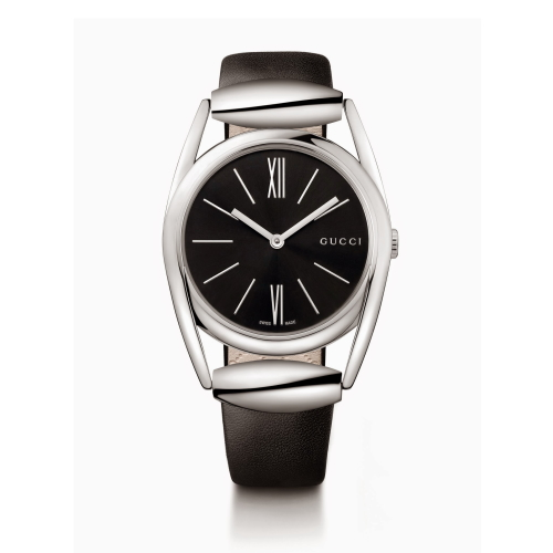 GUCCI HORSEBIT 馬蹄型時尚皮帶腕錶/黑面/139401